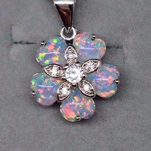 Opal Flower Pendant Necklace